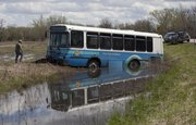 A Lawrence Transit bus ended up in a ditch near East Hills Business Park Wednesday afternoon. According to a spokesperson for the T, who was at the scene, the bus was heading for Vangent in the East Hills Business Park when it left Noria Road and ended up in the ditch. The spokesperson said no passengers on the bus were injured and that they walked to Vangent.
