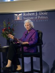 The Honorable Sandra Day O'Connor speaks at the Dole Institute of Politics on the campus of the University of Kansas on Monday April 12, 2010.