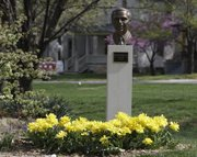 These yellow fancy tulips grace a memorial to Buford M. Watson Jr. in Watson Park, Sixth and Kentucky streets.