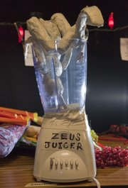 "The ""Zeus Juicer,"" a prop of puppet death in Spencer Lott&squot;s new play, ""House of Atreus"" — playing four times Thursday through Sunday."