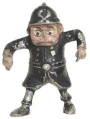 """Policeman"" is one of the dozens of Brownie characters created by Palmer Cox in the late 1890s. This 3-inch cast-metal figure sold for $115 at a Hake's auction in January."