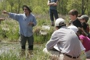 Rex Powell, a volunteer with the Wakarusa Wetlands Learners, talks about the variety of wildlife living in the wetlands.