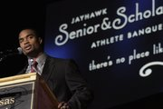 KU football senior Darrell Stuckey was the athlete speaker Monday, April 26, 2010 at the Jayhawk Senior & Scholar Athlete Banquet in Allen Fieldhouse.