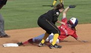 Maggie Hull is safe sliding into second base. The Jayhawk softball team dropped the first game of a doubleheader Wednesday, 1-4 to Wichita State.