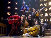 "The cast of ""Million Dollar Quartet"" jams onstage during an April performance."