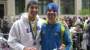 D.J. Hilding, left, manager of Garry Gribble's Running Sports, and Willoughby are shown at the 2010 Boston Marathon.