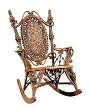 Ornate Victorian designs worked well for wicker furniture. This labeled well-preserved Heywood-Wakefield rocking chair sold recently at Neal Auction Co. in New Orleans for $7,552.