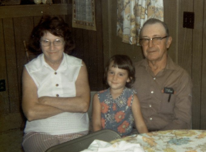 Me, at age 6, with my grandparents, Lona and Elvin Britt.