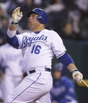 Kansas City's Billy Butler connects for a home run against Chicago. The White Sox defeated the Royals, 5-4, on Saturday night in Kansas City, Mo.