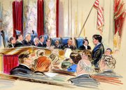 U.S. Solicitor General Elena Kagan, right, argues her first case before the Supreme Court, Citizens United v. Federal Election Commission in Washington, in this Sept. 9, 2009, file artist rendering.