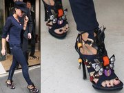 Victoria Beckham in some tribal-inspired heels.