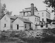 A photograph of the back of the Walruff Brewery in the late 1880s.