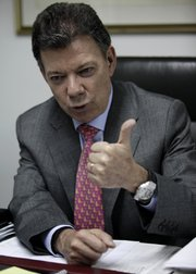 Social National Unity Party presidential candidate Juan Manuel Santos speaks during an interview Monday in Bogota, Colombia. In Sunday's election, Santos fell just short of the votes needed to avoid a presidential runoff.
