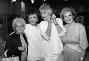 "This Dec. 25, 1985, file photo shows the stars of the television series ""The Golden Girls,"" from left, Estelle Getty, Rue McClanahan, Bea Arthur and Betty White during a break in taping in Hollywood, Calif. McClanahan, the Emmy-winning actress who brought the sexually liberated Southern belle Blanche Devereaux to life on the hit TV series, died Thursday. She was 76."