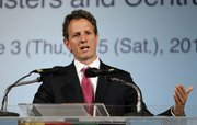 U.S. Secretary of the Treasury Timothy Geithner holds a press briefing at the close of the G20 Finance Ministers and Central Bank Governors Meeting on Saturday in Busan, South Korea. Finance ministers and central bankers from the world's leading economies agreed Saturday on the need to cooperate in fending off financial market turmoil and keeping the world economic recovery on track.