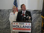 State Sen. Tom Holland, D-Baldwin City, filed Wednesday for the governor's race alongside his lieutenant governor running mate, state Sen. Kelly Kultala, D-Kansas City. They spoke in the Memorial Building in Topeka and were then headed to a campaign stop in Wichita.