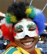 A South African soccer fan reacts during a celebration. Pre-World Cup celebrations, like this one at Orlando Stadium in Soweto, took place across South Africa on Thursday.