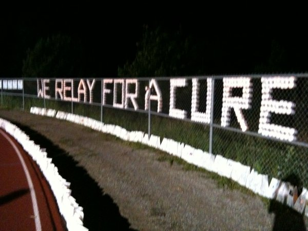 "The message at Relay For Life changed in the early morning hours from ""We Relay For Hope"" to ""We Relay For A Cure."""