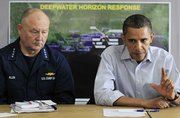 President Barack Obama, accompanied by National Incident Commander Adm. Thad Allen, makes a statement after being briefed on the BP oil spill relief efforts in the Gulf Coast region June 4 at Louis Armstrong International New Orleans Airport in Kenner, La.