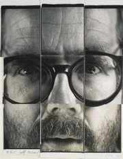 """9-Part Self Portrait"" Polaroid photo collage by Chuck Close is seen."