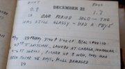 Harold Strub's journal entry  from Dec. 22, 1944 is shown at his home in Wichita in this June 3 photo.
