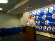 Lew Perkins speaks at a press conference Wednesday, June 16, 2010 at Allen Fieldhouse.