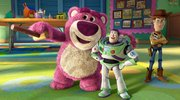 """Lots-o'-Huggin' Bear guides Buzz and Woody around in """"Toy Story 3."""""""