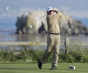 Shaun Micheel hits a drive on the 18th hole Thursday in Pebble Beach, Calif.