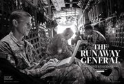 This March 15 image provided Tuesday by Rolling Stone magazine shows a layout from the magazine's latest issue with a U.S. Navy/NATO photo of Gen. Stanley A. McChrystal on board a C-130 aircraft over Afghanistan. McChrystal was fighting for his job Tuesday after being summoned to Washington to explain his extraordinary complaints about President Barack Obama and his colleagues in the Rolling Stone article.