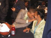 Xavier Henry and his mother, Barbara, talk in the Green Room before the 2010 NBA Draft on Thursday, June 24, at Madison Square Garden in New York City.