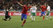 Spain's David Villa, second left, celebrates after scoring the opening goal during the World Cup round of 16. His was the only goal in a 1-0 victory over Portugal on Tuesday in Cape Town, South Africa.