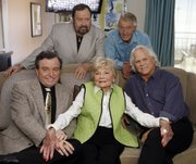 "Jerry Mathers, left, Frank Bank, Barbara Billingsley, Ken Osmond and Tony Dow of the classic television sitcom ""Leave It To Beaver"" reunited in 2007 to celebrate the 50th anniversary of the show. This week, Shout Factory is releasing all six seasons of the original show on a 37-disc DVD set."