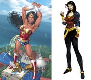 The illustration above left released by DC Comics shows an image of Wonder Woman by artist Nicola Scott. The illustration above right released by DC Comics shows the new look for Wonder Woman designed by DC Comics co-publisher Jim Lee. Wonder Woman's wardrobe change has comic fans searching for meaning. Wonder Woman's new look ditches the famous red bustier, star-spangled hot pants and red knee-high boots and replaces them with black leggings and a motorcycle jacket.