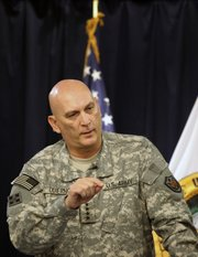 U.S. Army Gen. Ray Odierno speaks Tuesday during a news conference in Baghdad. The top American military commander in Iraq said U.N. peacekeeping forces may need to protect disputed territories in the nation's north if tensions between Kurds and Arabs haven't eased by the time U.S. troops leave in 2011.