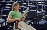 """Jennifer Walker  goes over her lines during rehearsals of """"Shiloh Rules,"""" a Civil War re-enactment play."""