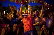 Supporters of the Spanish soccer team react as they watch Spain's World Cup victory over Germany on Wednesday.  These fans watched the game on the beach in Barcelona, Spain, a city that produced several of Spain's stars. Spain will face the Netherlands in the World Cup final Sunday in South Africa.