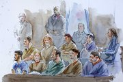 This courtroom sketch shows accused spies, bottom row from right, Richard Murphy, Cynthia Murphy, Donald Howard Heathfield, Tracey Lee Ann Foley, Michael Zottoli, top row from right, Patricia Mills, Juan Lazaro, Vicky Pelaez, Anna Chapman and Mikhail Semenko during their arraignment in in Manhattan federal court Thursday in New York.