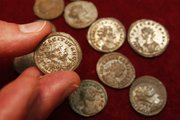 Coins found by British treasure hunter Dave Crisp