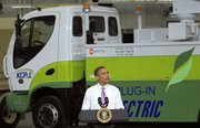 President Barack Obama speaks at Smith Electric Vehicles in Kansas City, Mo., on Thursday. Obama discussed the economy and helped campaign for two Senate candidates on Thursday, Robin Carnahan in Missouri and Harry Reid in Nevada.