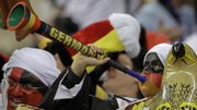 A German fan blows a vuvuzela following the World Cup quarterfinal between Argentina and Germany on July 3 in Cape Town, South Africa. The vuvzelas have been a popular hit in the stands this year in the World Cup.