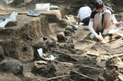 This July 7, 2008, photo released by South Korea's Truth and Reconciliation Commission shows human skeletons unearthed at a site in Gongju, South Korea. Shutting down its inquiry into South Korea's hidden history, a century of human rights abuses, the commission will leave unexplored scores of other suspected mass graves believed to hold remains of tens of thousands of South Korean political detainees summarily executed by their government early in the 1950-53 war, sometimes as U.S. officers watched. In a political about-face, the commission, also investigating the U.S. military's large-scale killing of Korean War refugees, has ruled the Americans in case after case acted out of military necessity.