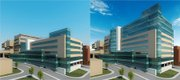 These renderings show the before and after for a $50 million expansion to Kansas University Hospital's Center for Advanced Heart Care. The expansion will add three floors and 123,000 square feet to the center.