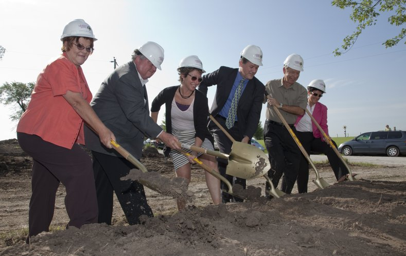 Lawrence Memorial Hospital officially broke ground Friday, July 16, 2010, for a new $2.5 million medical center in Eudora. From left are Debrah Barr, owner of Byrne's Pharmacy; Kurt von Achen, chairman of the Eudora Planning Commission; Jaye Cole, director of LMH Kreider Rehabilitaion Services; Dr. Daniel Dickerson, Eudora Family Care; Joe Flannery, chairman of LMH Board of Trustees; and Judy Keller, chair of LMH Board facilities committee.