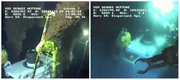 Images taken from video provided by BP PLC show oil flowing from two of three valves on the new 75-ton cap atop the site of the Deepwater Horizon oil spill in the Gulf of Mexico at 5:04 p.m. CDT Wednesday, left, and the top of the cap at 5:56 p.m. CDT on Thursday, minutes after the flow of oil was choked off. BP vice president Kent Wells said the oil stopped flowing into the water at 2:25 p.m. CDT after engineers gradually dialed back the amount of crude escaping through the last of three vents in the cap, an 18-foot-high metal stack of pipes and valves.