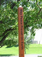 This Peace pole located at First Presbyterian Church, 2415 Clinton Parkway, was dedicated June 27.