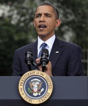 President Barack Obama speaks to reporters Thursday outside the White House in Washington. Striking a deeply partisan tone in his weekly radio and online address Saturday, Obama said Senate Republicans are playing politics with bills that would extend benefits to the unemployed and increase lending to small businesses.