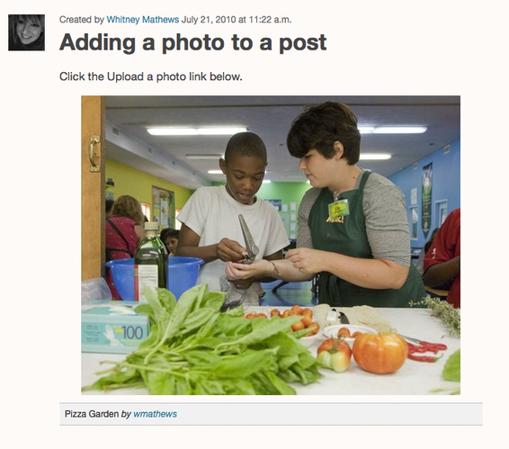 After you save as a draft or publish, the photo embeds in your post.