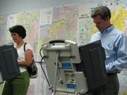 U.S. Sen. Sam Brownback, R-Kan., and his wife, Mary, voted Monday at the Shawnee County election office during advance voting for the Aug. 3 GOP primary. Brownback is running for governor.