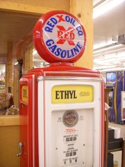 A Red X gas pump replica.