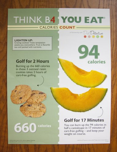 Posters and signs serve as healthy reminders for employees at Golf Course Superintendent&#39;s Association of America. This one focuses on nutrition.